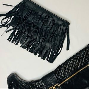 Genuine Leather Fringe Black Clutch